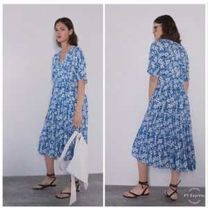 Zara Blue & White Floral Oversized Midi Dress Sz M